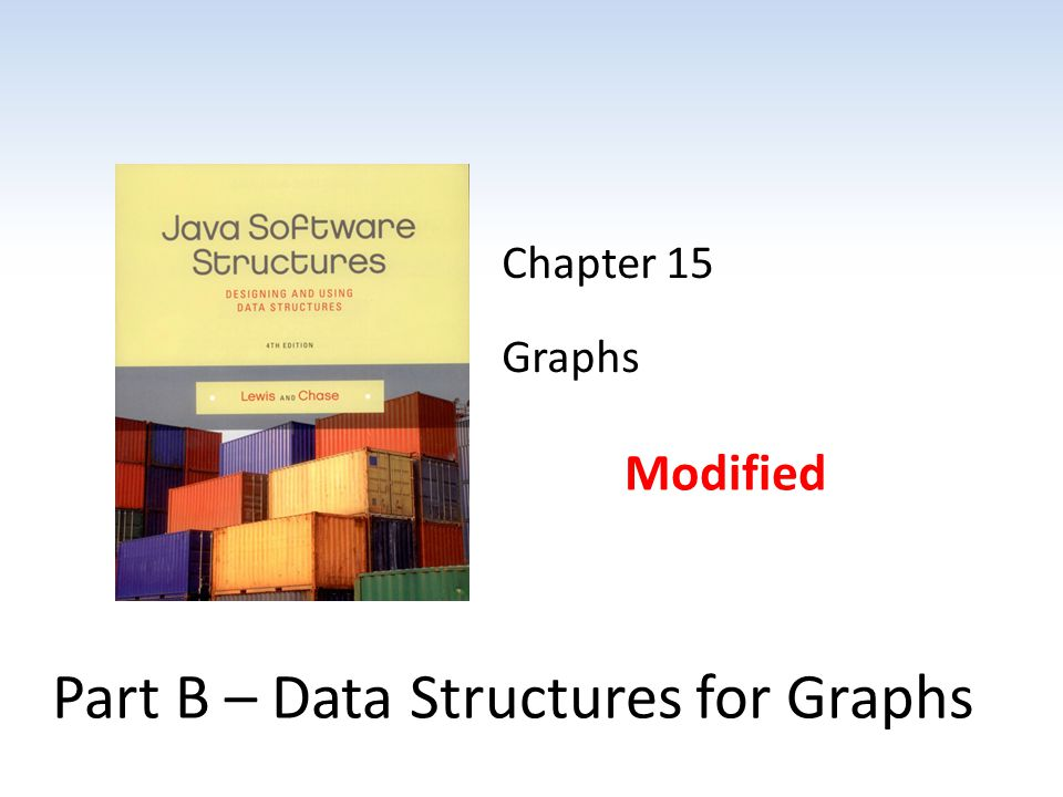Chapter 15 Graphs Modified Part B – Data Structures for Graphs