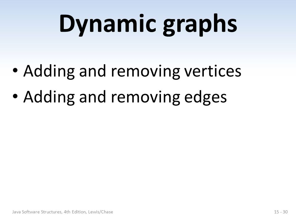 Dynamic graphs Adding and removing vertices Adding and removing edges 15 - 30Java Software Structures, 4th Edition, Lewis/Chase