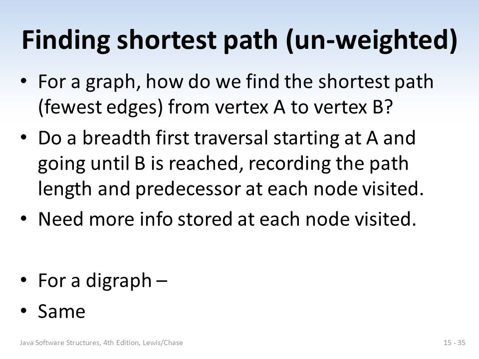 Finding shortest path (un-weighted) For a graph, how do we find the shortest path (fewest edges) from vertex A to vertex B? Do a breadth first travers