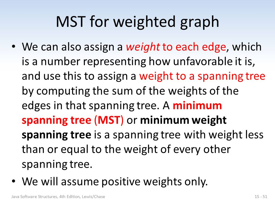 MST for weighted graph We can also assign a weight to each edge, which is a number representing how unfavorable it is, and use this to assign a weight