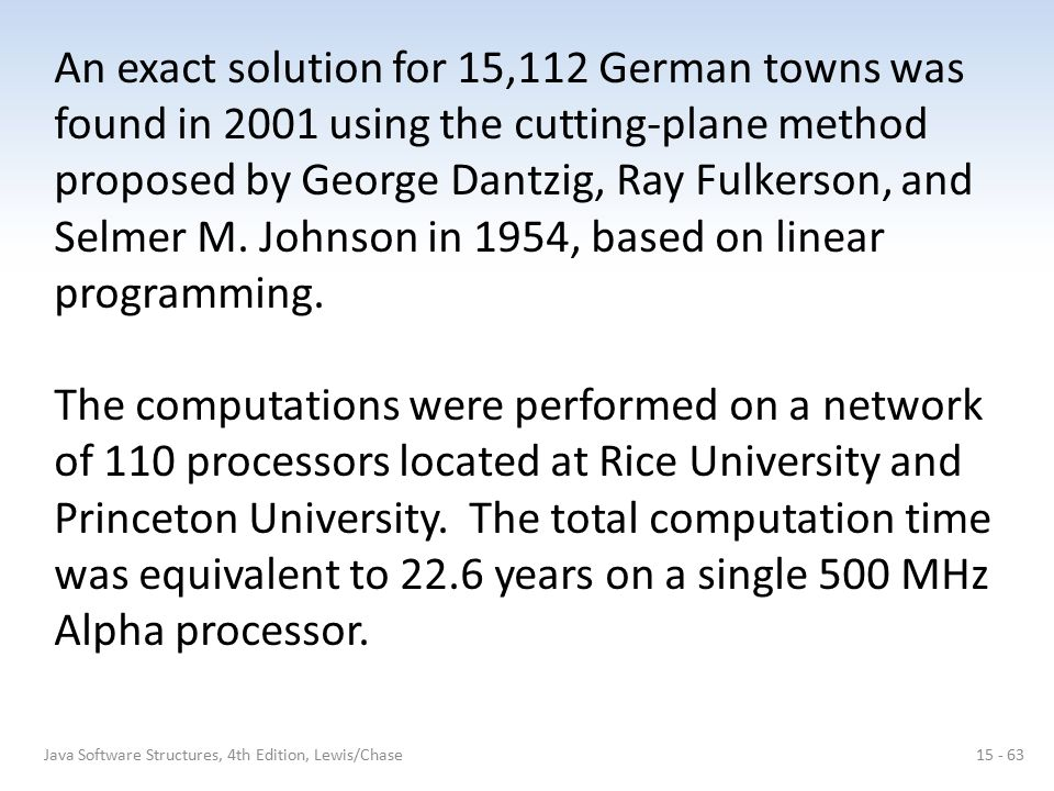 Java Software Structures, 4th Edition, Lewis/Chase15 - 63 An exact solution for 15,112 German towns was found in 2001 using the cutting-plane method p