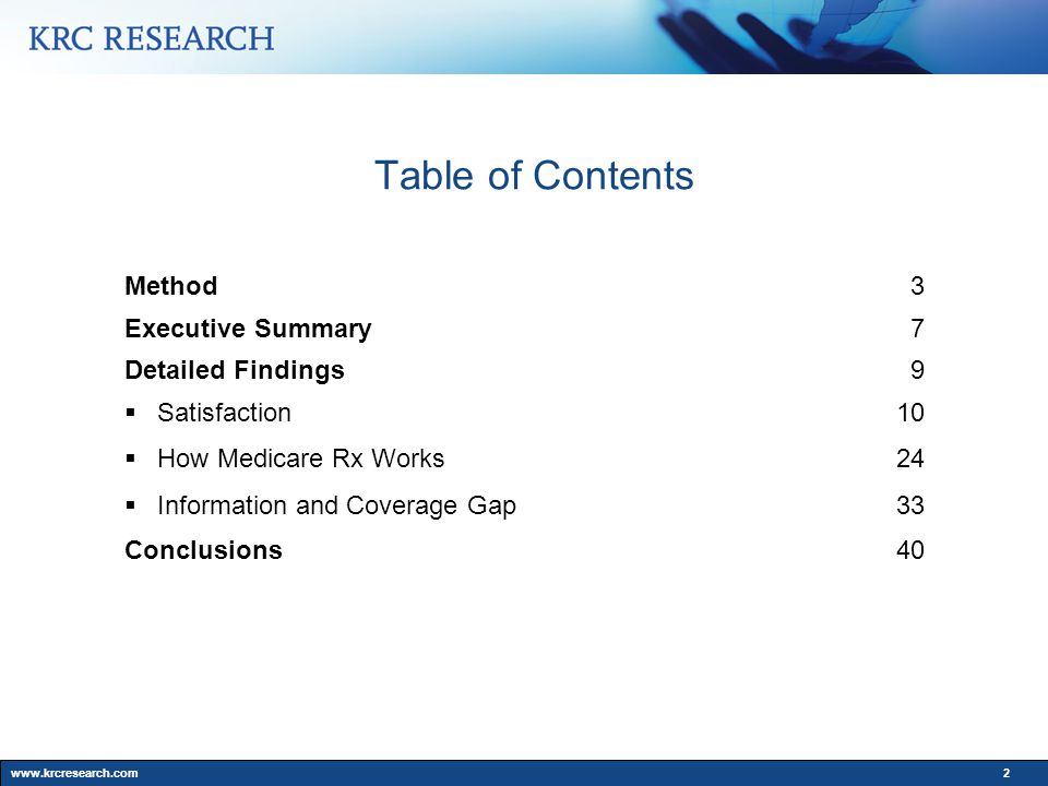 www.krcresearch.com2 Table of Contents Method3 Executive Summary7 Detailed Findings9  Satisfaction10  How Medicare Rx Works24  Information and Coverage Gap33 Conclusions40