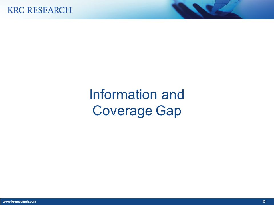 www.krcresearch.com33 Information and Coverage Gap