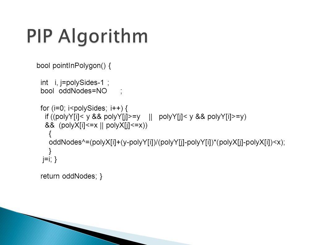 PIP Algorithm bool pointInPolygon() { int i, j=polySides-1 ; bool oddNodes=NO ; for (i=0; i<polySides; i++) { if ((polyY[i] =y || polyY[j] =y) && (polyX[i]<=x || polyX[j]<=x)) { oddNodes^=(polyX[i]+(y-polyY[i])/(polyY[j]-polyY[i])*(polyX[j]-polyX[i])<x); } j=i; } return oddNodes; }