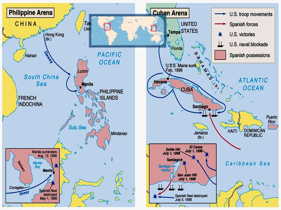 The Spanish-American War May 1, 1898: The United States launched a surprise attack in Manila Bay and destroyed Spain's entire Pacific fleet in seven hours.