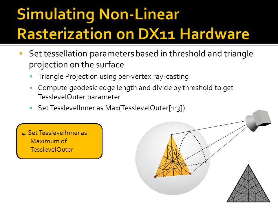  Set tessellation parameters based in threshold and triangle projection on the surface  Triangle Projection using per-vertex ray-casting  Compute g