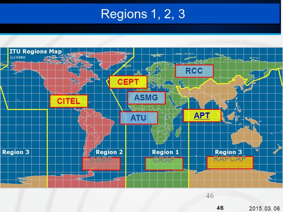 2015. 03. 06 46 Regions 1, 2, 3 APT CEPT CITEL ATU RCC ASMG CORFCRAF RAFCAP