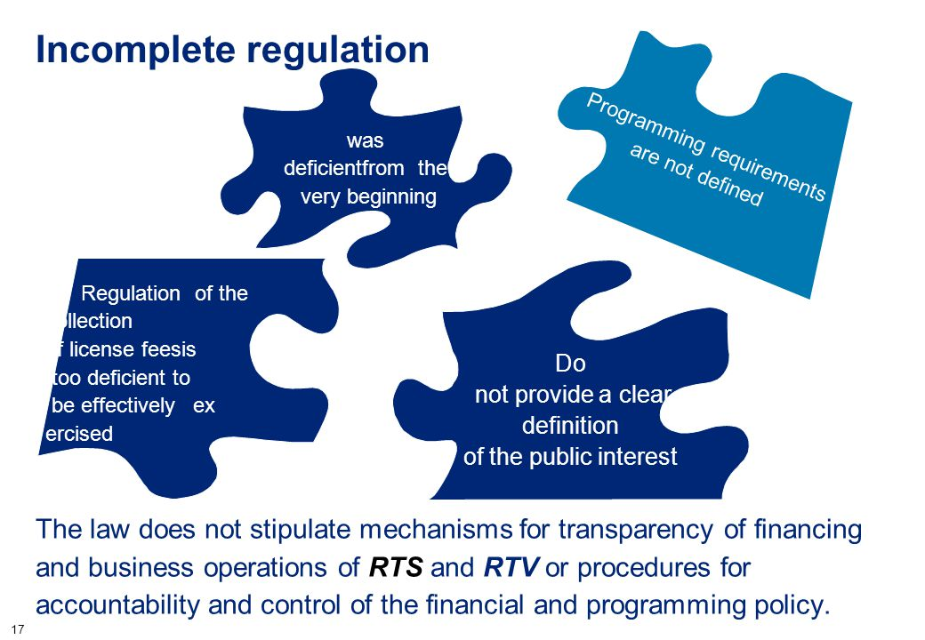 17 Incomplete regulation The law does not stipulate mechanisms for transparency of financing and business operations of RTS and RTV or procedures for
