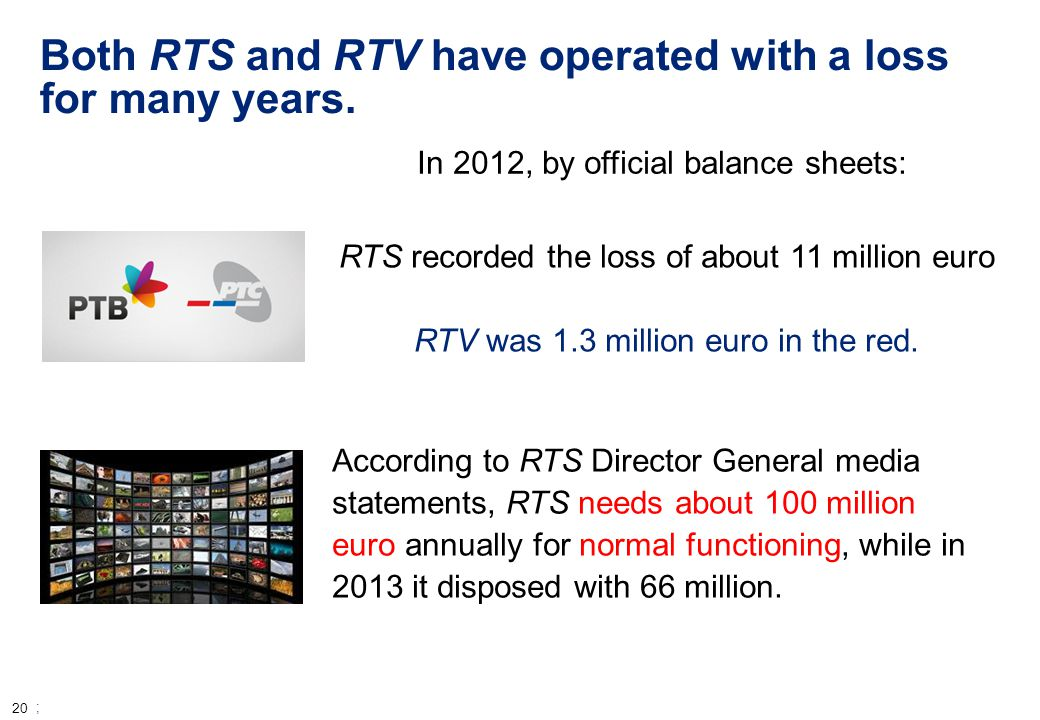 20 ; Both RTS and RTV have operated with a loss for many years.