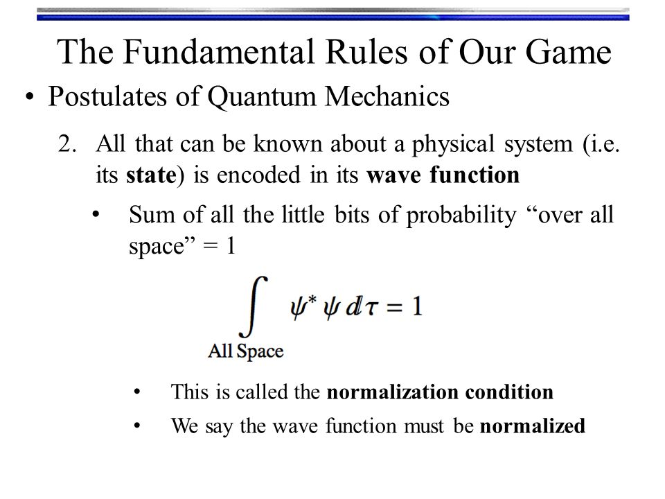 The Fundamental Rules of Our Game 2.All that can be known about a physical system (i.e.