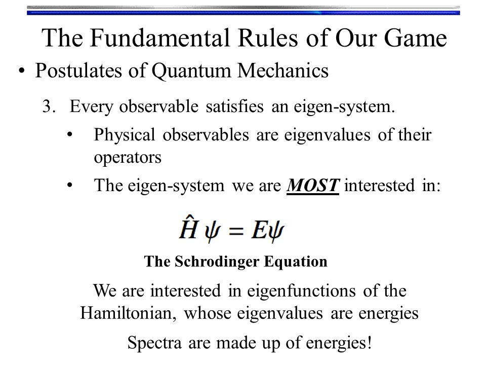 The Fundamental Rules of Our Game 3.Every observable satisfies an eigen-system.