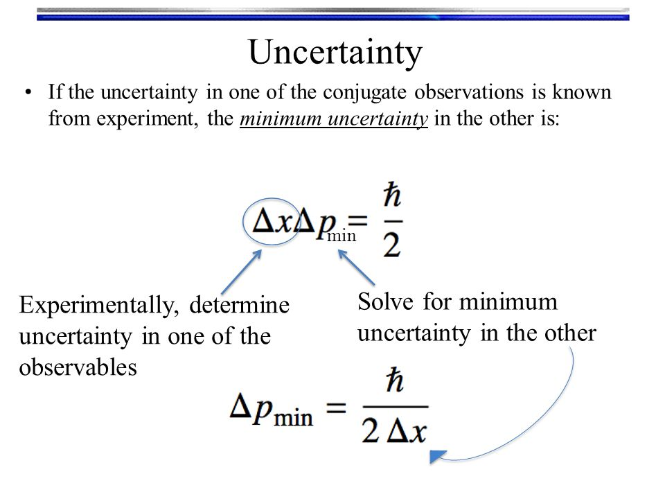 Uncertainty If the uncertainty in one of the conjugate observations is known from experiment, the minimum uncertainty in the other is: Experimentally, determine uncertainty in one of the observables Solve for minimum uncertainty in the other min