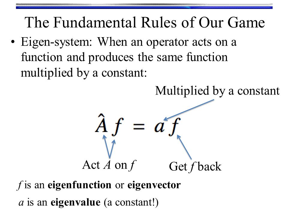 The Fundamental Rules of Our Game Eigen-system: When an operator acts on a function and produces the same function multiplied by a constant: Act A on f Get f back Multiplied by a constant f is an eigenfunction or eigenvector a is an eigenvalue (a constant!)
