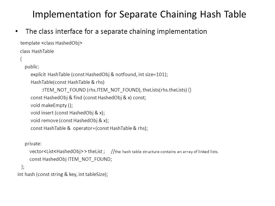 Implementation for Separate Chaining Hash Table The class interface for a separate chaining implementation template class HashTable { public: explicit
