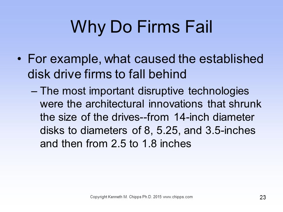 Why Do Firms Fail For example, what caused the established disk drive firms to fall behind –The most important disruptive technologies were the architectural innovations that shrunk the size of the drives--from 14-inch diameter disks to diameters of 8, 5.25, and 3.5-inches and then from 2.5 to 1.8 inches Copyright Kenneth M.