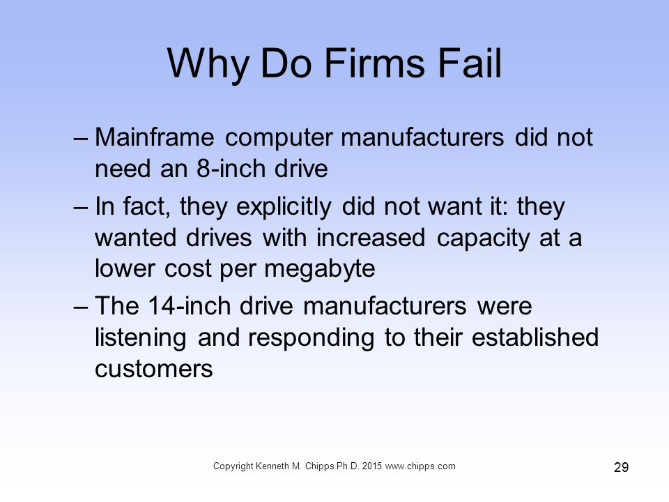 Why Do Firms Fail –Mainframe computer manufacturers did not need an 8-inch drive –In fact, they explicitly did not want it: they wanted drives with increased capacity at a lower cost per megabyte –The 14-inch drive manufacturers were listening and responding to their established customers Copyright Kenneth M.
