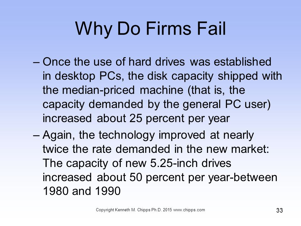 Why Do Firms Fail –Once the use of hard drives was established in desktop PCs, the disk capacity shipped with the median-priced machine (that is, the capacity demanded by the general PC user) increased about 25 percent per year –Again, the technology improved at nearly twice the rate demanded in the new market: The capacity of new 5.25-inch drives increased about 50 percent per year-between 1980 and 1990 Copyright Kenneth M.