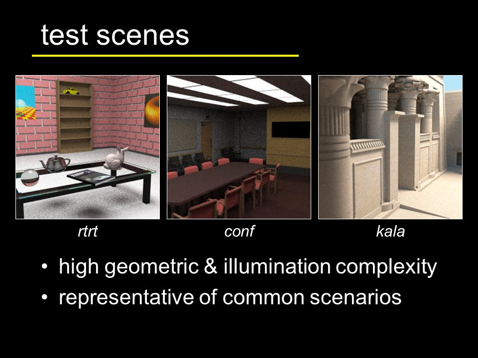 high geometric & illumination complexity representative of common scenarios test scenes rtrtconfkala