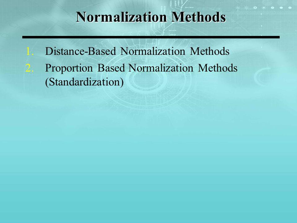 Normalization Methods 1.Distance-Based Normalization Methods 2.Proportion Based Normalization Methods (Standardization)