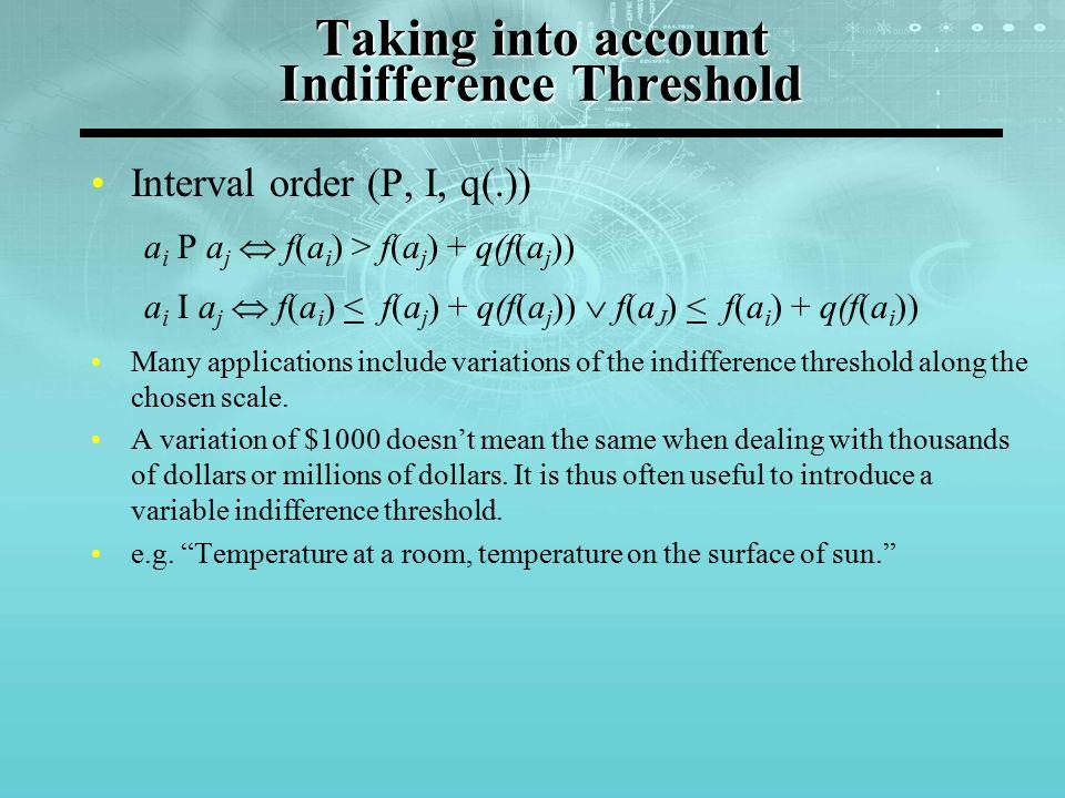 Taking into account Indifference Threshold Interval order (P, I, q(.)) a i P a j  f(a i ) > f(a j ) + q(f(a j )) a i I a j  f(a i ) < f(a j ) + q(f(