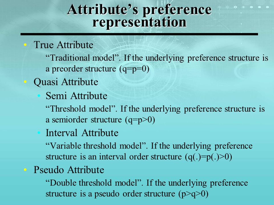 """Attribute's preference representation True Attribute """"Traditional model"""". If the underlying preference structure is a preorder structure (q=p=0) Quasi"""