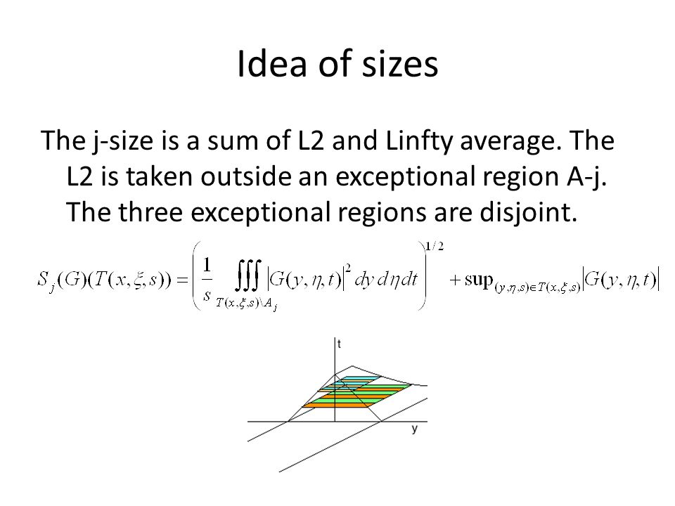 Idea of sizes The j-size is a sum of L2 and Linfty average. The L2 is taken outside an exceptional region A-j. The three exceptional regions are disjo
