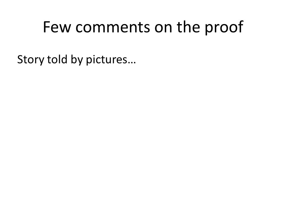 Few comments on the proof Story told by pictures…