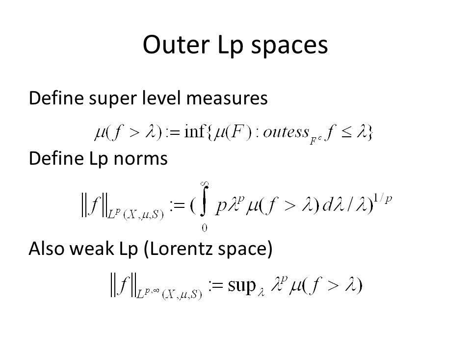 Outer Lp spaces Define super level measures Define Lp norms Also weak Lp (Lorentz space)
