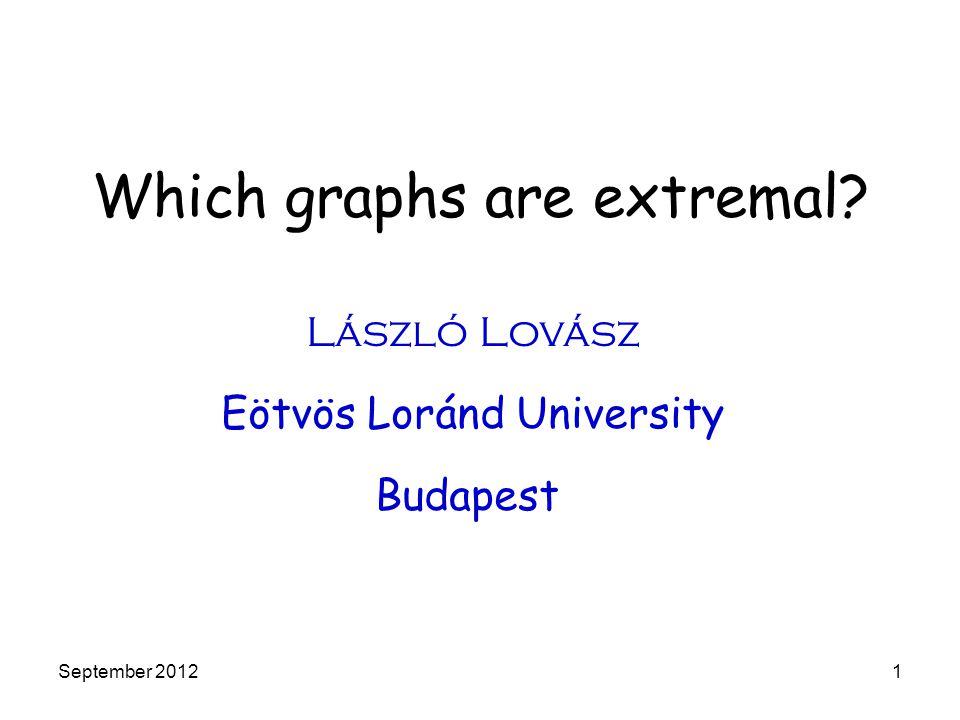 Which graphs are extremal? László Lovász Eötvös Loránd University Budapest September 20121