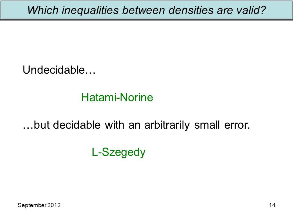 September 201214 Which inequalities between densities are valid.
