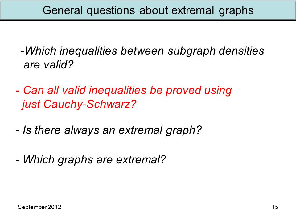 September 201215 General questions about extremal graphs - Is there always an extremal graph.