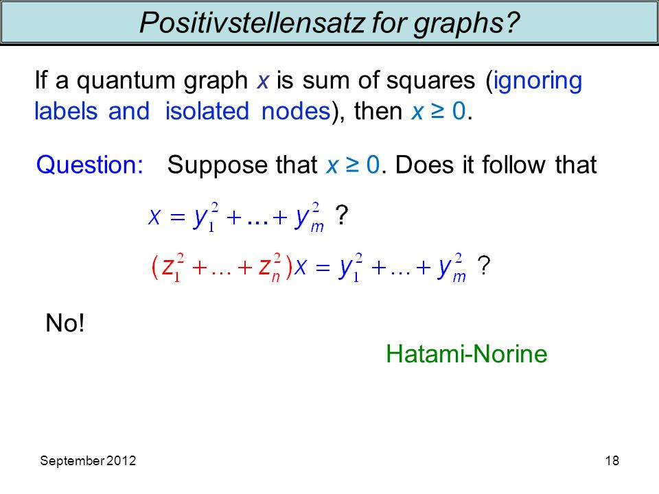 September 2012 Question: Suppose that x ≥ 0. Does it follow that Positivstellensatz for graphs.