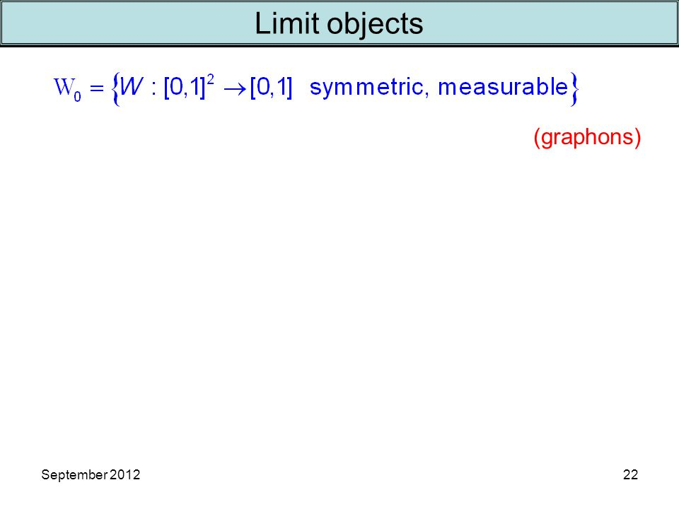 September 2012 Limit objects 22 (graphons)
