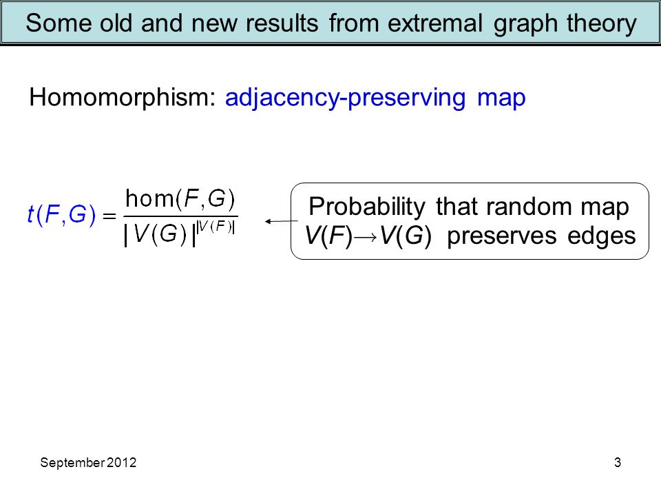 September 20123 Some old and new results from extremal graph theory Probability that random map V(F)  V(G) preserves edges Homomorphism: adjacency-preserving map