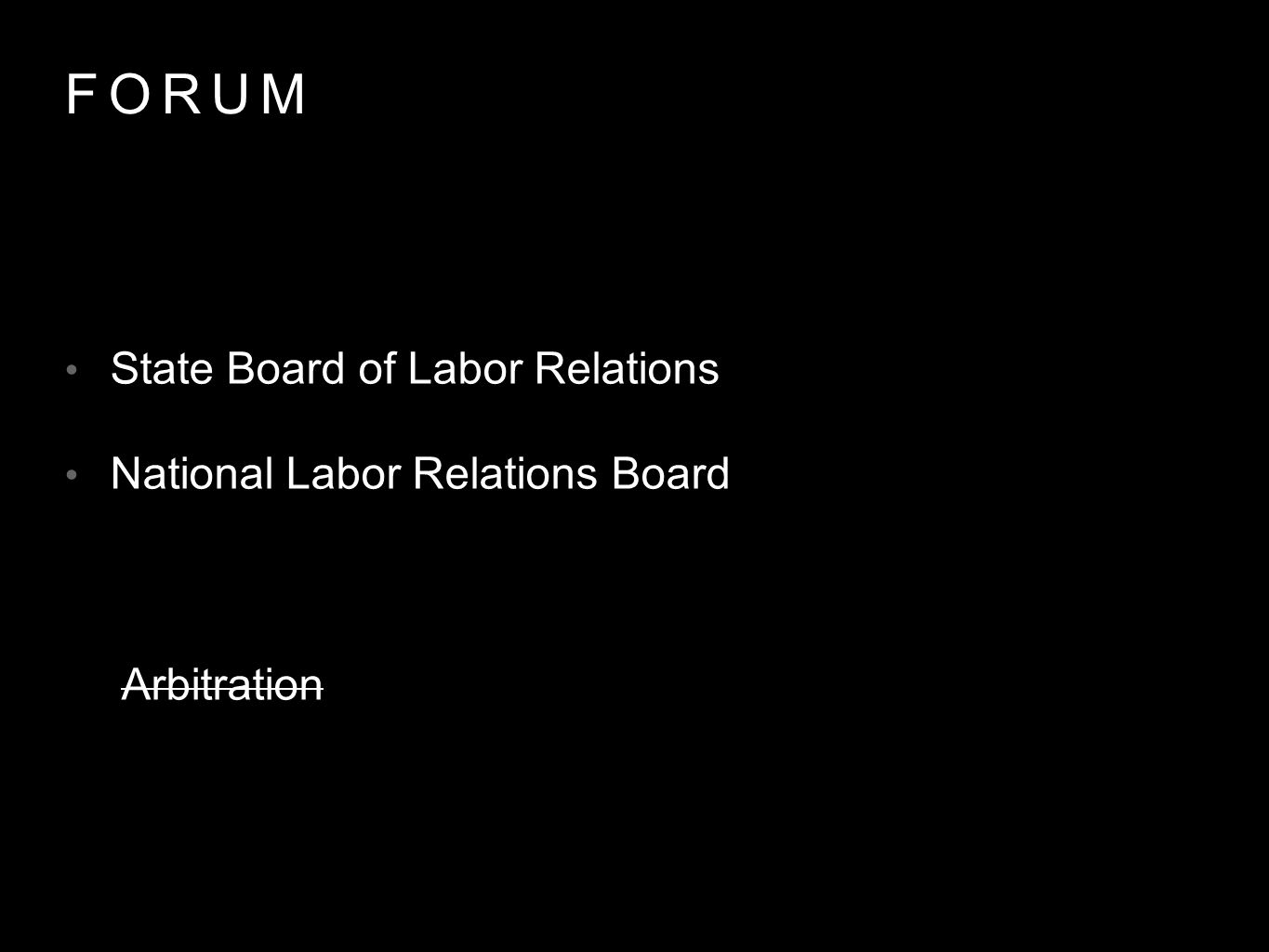 FORUM State Board of Labor Relations National Labor Relations Board Arbitration