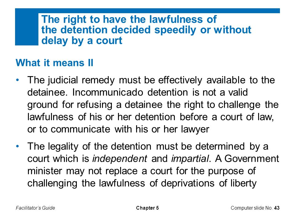 Facilitator's GuideChapter 5 What it means II The judicial remedy must be effectively available to the detainee. Incommunicado detention is not a vali