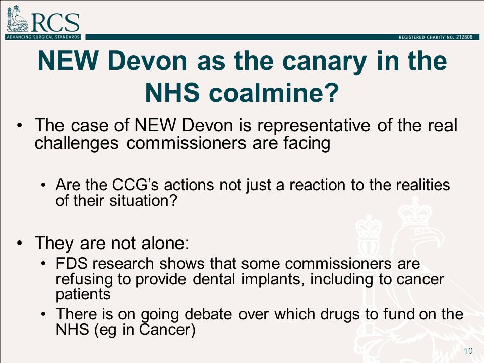 NEW Devon as the canary in the NHS coalmine? The case of NEW Devon is representative of the real challenges commissioners are facing Are the CCG's act