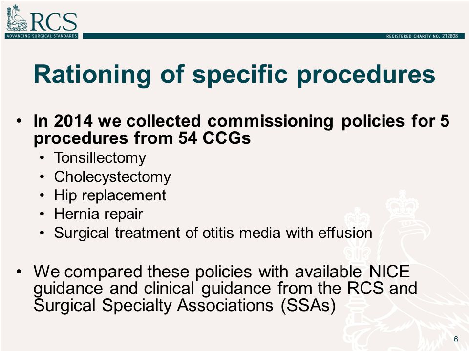 Rationing of specific procedures In 2014 we collected commissioning policies for 5 procedures from 54 CCGs Tonsillectomy Cholecystectomy Hip replacement Hernia repair Surgical treatment of otitis media with effusion We compared these policies with available NICE guidance and clinical guidance from the RCS and Surgical Specialty Associations (SSAs) 6
