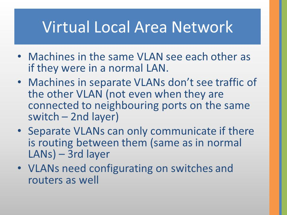Virtual Local Area Network Machines in the same VLAN see each other as if they were in a normal LAN. Machines in separate VLANs don't see traffic of t