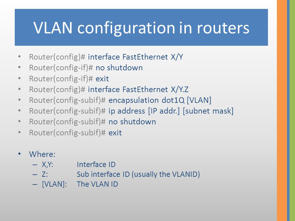 VLAN configuration on Swiches Switch> enable Switch# configure terminal Switch(config)# vlan [VLAN] Switch(config-vlan)# name [VLAN_NAME] Switch(config-vlan)# exit Where: – [VLAN]:is the VLAN ID – [VLAN_NAME] is the friendly name of the VLAN