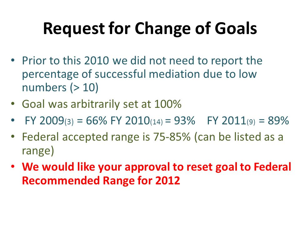 Request for Change of Goals Prior to this 2010 we did not need to report the percentage of successful mediation due to low numbers (> 10) Goal was arbitrarily set at 100% FY 2009 (3) = 66% FY 2010 (14) = 93% FY 2011 (9) = 89% Federal accepted range is 75-85% (can be listed as a range) We would like your approval to reset goal to Federal Recommended Range for 2012
