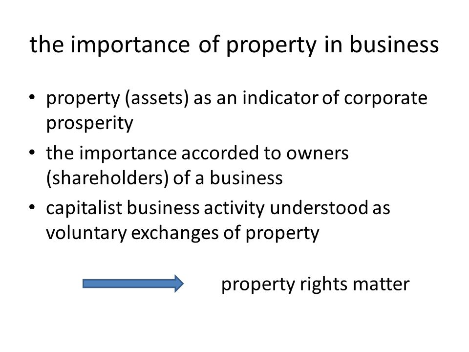 key points a lot of importance is given to property rights in contemporary business there are sound reasons for respecting property rights however, if we accord too much importance to property rights we may overlook other important ethical considerations in particular, we may overlook ways in which workers are exploited to serve the interests of business owners
