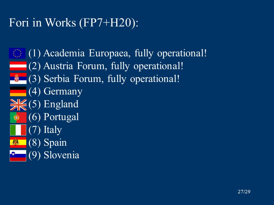 27/29 Fori in Works (FP7+H20): (1) Academia Europaea, fully operational.
