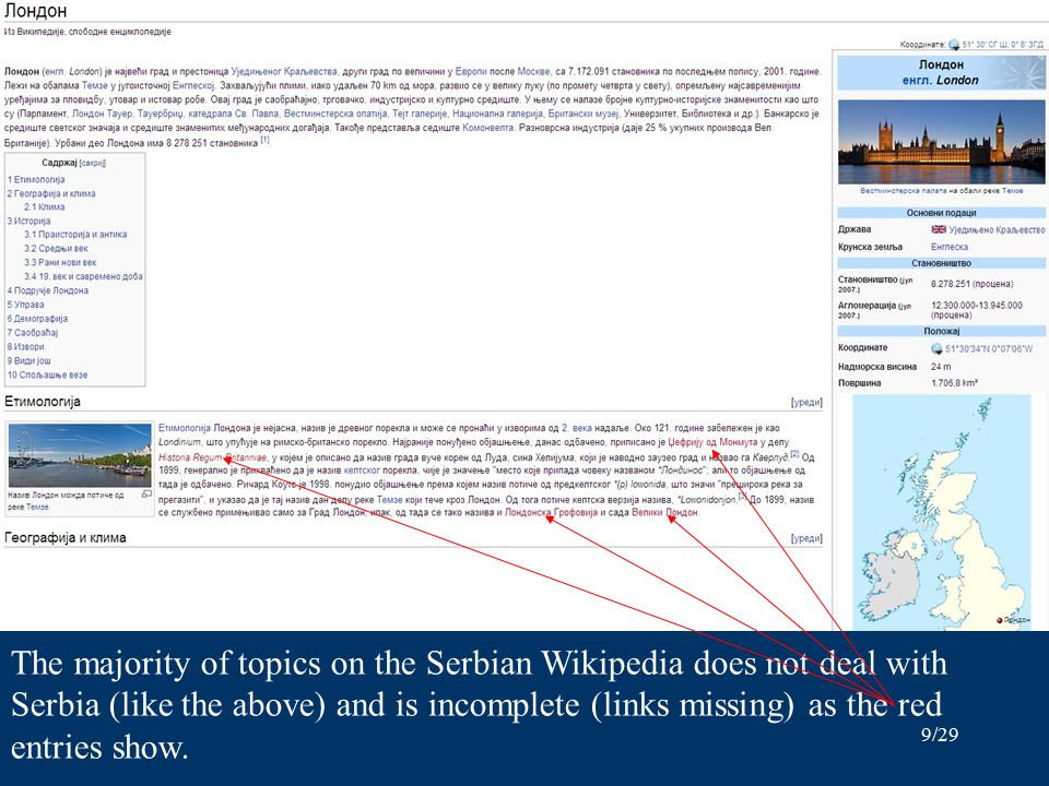 9/29 The majority of topics on the Serbian Wikipedia does not deal with Serbia (like the above) and is incomplete (links missing) as the red entries show.