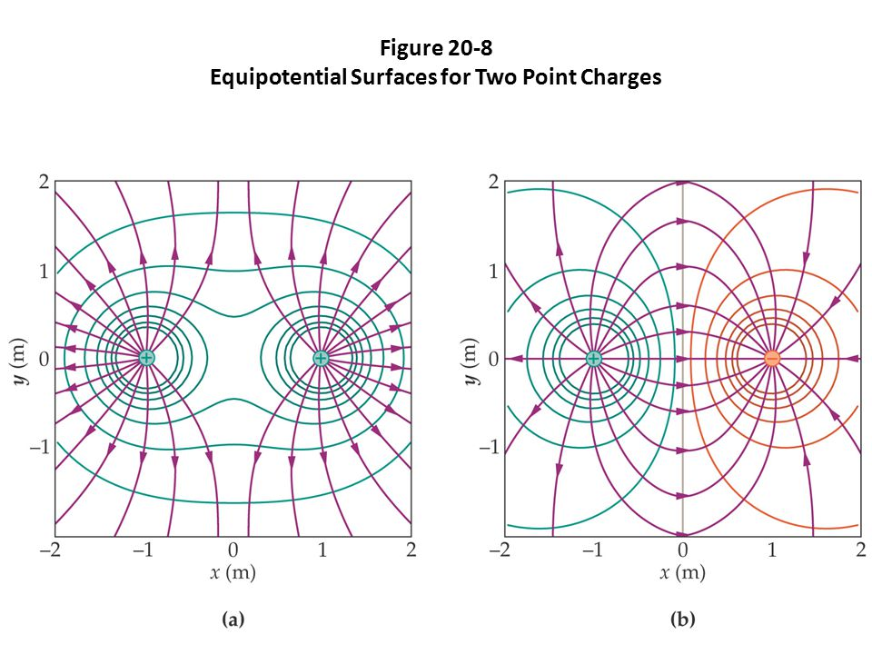 Figure 20-8 Equipotential Surfaces for Two Point Charges