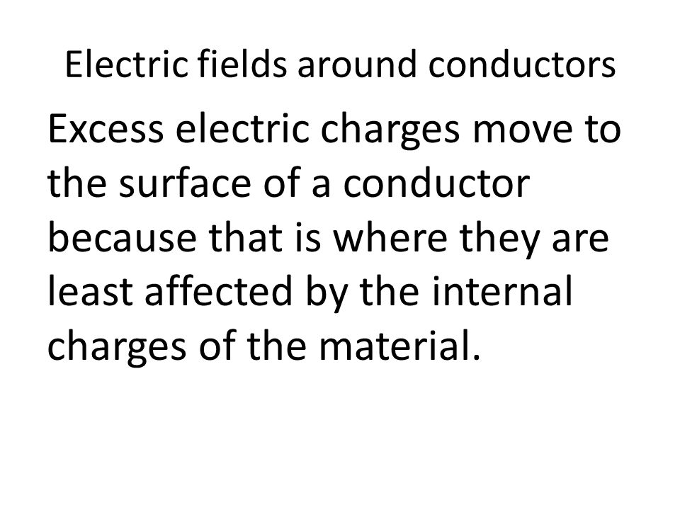 Electric fields around conductors Excess electric charges move to the surface of a conductor because that is where they are least affected by the inte