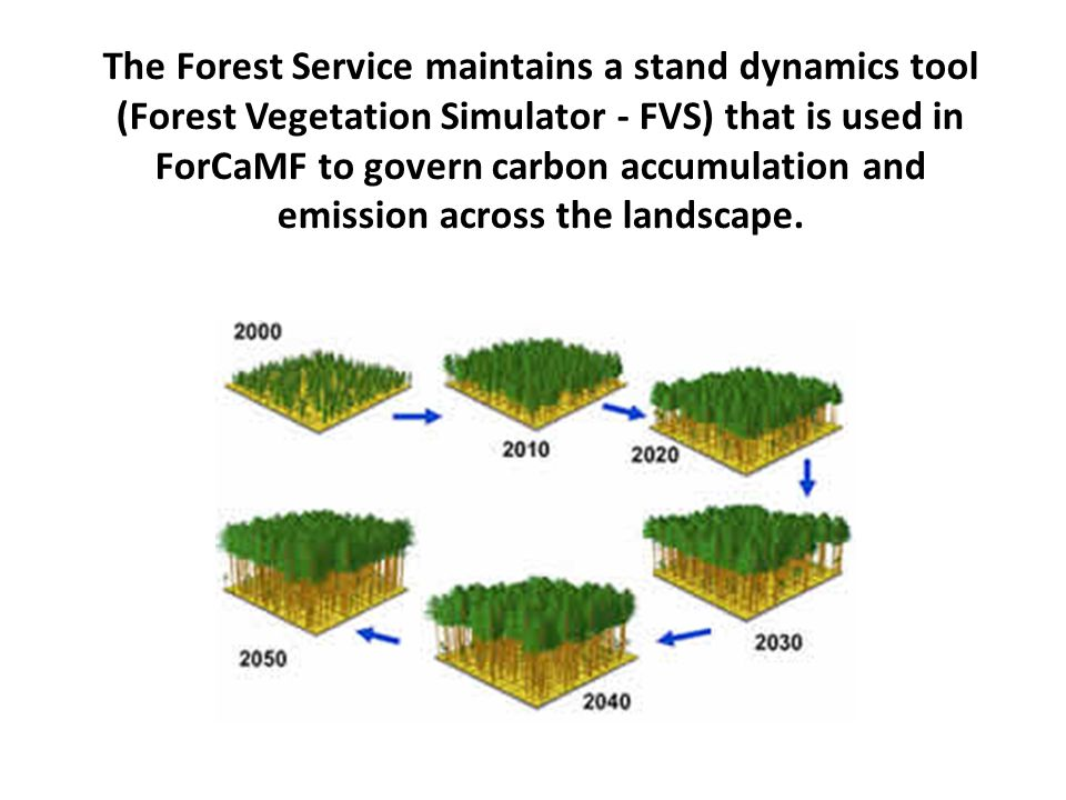 The Forest Service maintains a stand dynamics tool (Forest Vegetation Simulator - FVS) that is used in ForCaMF to govern carbon accumulation and emission across the landscape.