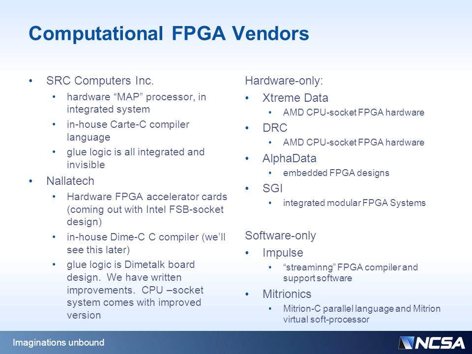 Computational FPGA Vendors SRC Computers Inc.