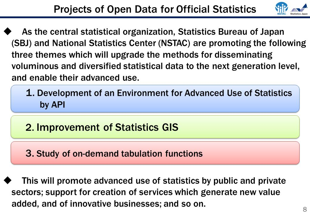 Projects of Open Data for Official Statistics  As the central statistical organization, Statistics Bureau of Japan (SBJ) and National Statistics Center (NSTAC) are promoting the following three themes which will upgrade the methods for disseminating voluminous and diversified statistical data to the next generation level, and enable their advanced use.