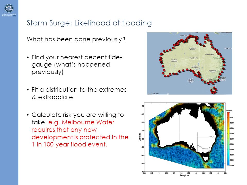 Storm Surge: Likelihood of flooding What has been done previously.